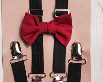 Maroon bow tie, Baby Suspenders, Christmas out fit, Holiday Bow tie, Black Suspenders, Toddler suspenders, Toddler bow tie, Kids bowtie, bow