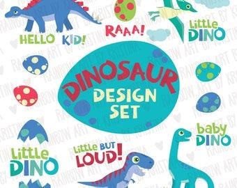 Cute Little Dinosaurs Clip Art Design Set/baby Dino illustration/Baby room decoration/Children clipart/Design elements/Baby room decor