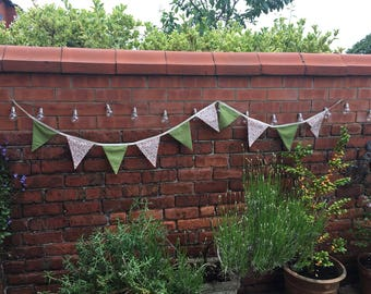 Olive shabby chic bunting