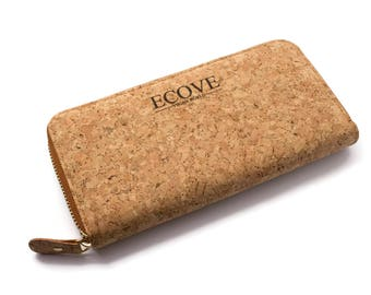 ECOVE - high-quality and elegant Cork women's wallet, wallet with many subjects, size: 20 cm x 10 cm