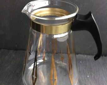 Vintage Pyrex Coffee/Tea Carafe~ Atomic.~ Modern Gold Design