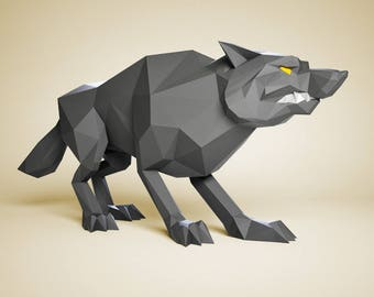 Papercraft Wolf, DIY paper Sculpture, Paper model, 3D paper craft, Papercraft animals, DIY gift, papercraft PDF pattern, 3D paper template