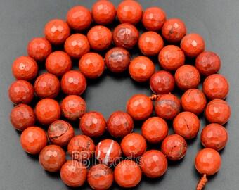 Faceted Red Jasper Beads 6mm, 8mm Red Jasper Beads, Round Beads, Red Gemstone Beads, Jewelry Beads, Faceted beads, Stone beads, 15''5 st.