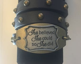 Women's Faux Leather Cuff Bracelet