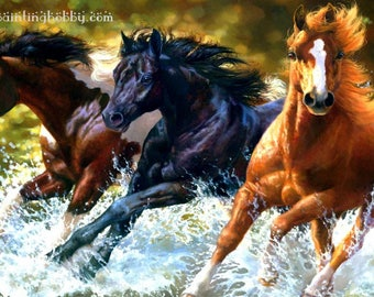 Running horses diamond painting, 3d painting, hobby for kids and adults, diy kits, Free shipping! 3D Embroidery set Cross Stitch