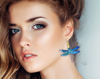 Dragonfly earrings - Bright iridescent crystal - Hologram - Jewels in vintage plastic - Dragonfly drop earrings - Blue dragonfly jewelry