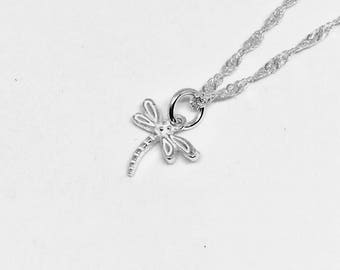 Sterling Silver/Dainty/Dragonfly/Layered/Delicate Necklace