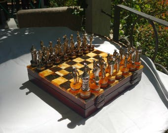 Amber chess set. Unique, yolk - dark, royal present. Made of Baltic amber and 925 silver. Genuine, unique and representative present.