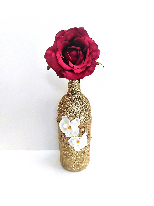 Gold Glitter Wine Bottle Decor, Gold Wedding Centerpiece, Table ...