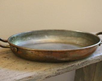 Vintage Oval Copper Sautee Pan