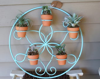 Aqua Hanging Succulent Planter - Faux Succulent Arrangements Included - Repurposed Candle Holder
