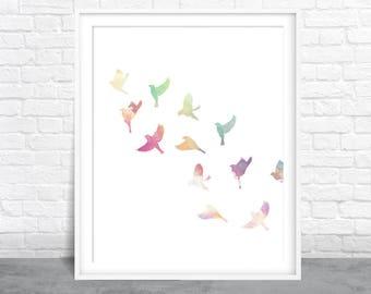 Birds wall art, Bird Watercolor, Aviary art, Birds Flocking