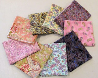 PAISLEY FAT QUARTERS 9 Paisley Fabrics Persian Pickle Fabrics 2.25 Yards of Fabric