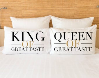"Unique Gift Idea for Him and Her! Beautiful and Classy! ""King and Queen of Great Taste"" Pillowcase Set! Super Comfortable MICROFIBER!"