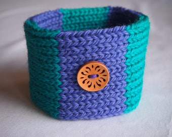 Woollen Hand Knitted Dog Collar in Green and Purple Stripes with a Blonde Laser Cut Wooden Button (size M)