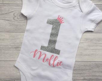 Girls cake smash outfit-pink and glitter baby vest-1st birthday outfit-girls cake smash outfit-Pink Birthday-Personalised Birthday Outfit