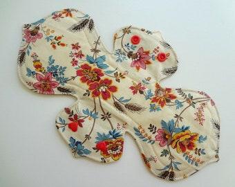"10"" Regular Flow - Teal Red Floral Pad- Waterproof Reusable Cotton Cloth Sanitary Pad"