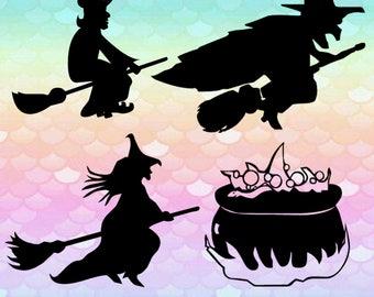 20 Witches Images Halloween Broom Cauldron Hat Svg Monogram Font Svg Cut Files Silhouette Studio Cricut Svg Dxf Png digital art