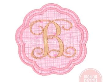 Vine Monogram iron on patch, Iron on Monogram Swirly, Round Circle Monogram Embroidered Iron On Appliqué Patch, iron on monogram