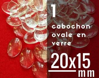 1 glass - 15 x 20 mm - 20 x 15 mm oval cabochon