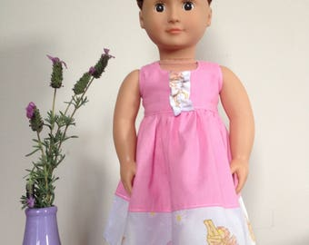 18 inch doll clothing - Pink Halter Neck Dress. Made to fit Our Generation Doll and Americal Girl Doll.