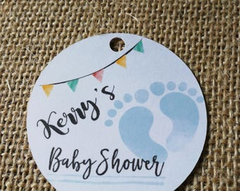 15x Personalised Baby Shower Party Favour Gift Tags, Footprints