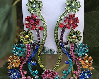 Flowered Waterfall Chandelier earrings Multi Colored Pierced