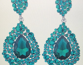 Teal Sparkly Teardrop Chandelier Earrings  Pierced