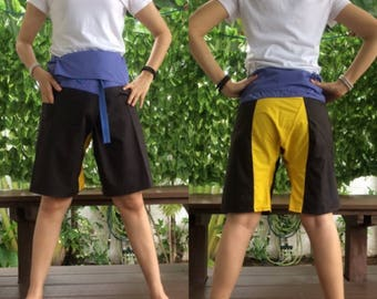 Discount 20%--Short Patchwork pants, Thai fisherman pants with 1 pocket, free size (see detail).(No.21)