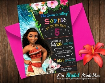 Moana Birthday Invitation, Moana Invitation, Moana Party, Moana Birthday, Moana Invitations, Moana