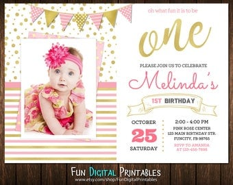 Pink and gold first birthday invitation, Pink and gold 1st birthday invitation, pink and gold birthday invitation, first birthday invitation
