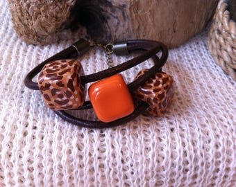 Bracelet, leather and ceramic jewelry, eco-friendly, organic jewelry, organic jewelry, bracelet ceramics and leather strap