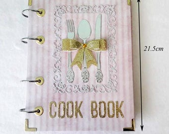 "Recipe Book-Blank Cookbook-Gift-Mothers Day-Gift Mom-Gift for Bride-Binder-Special paper-Width16.5cm (6.5"")-Height21.5cm (8.5"")-Paper sizeA5"