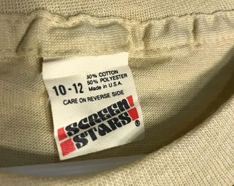 Vintage Screen Stars unisex youth 50/50 blend paper thin blank deadstock t-shirt kids light tan
