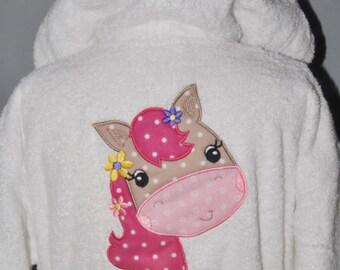 Kids hooded bathrobe horse girl custom embroidered