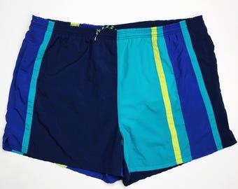 Cheetah Sport Vintage Swim Trunks Blue Aqua Lime Colorblock Size XL, Vintage Men's Shorts, Vintage Swim Shorts