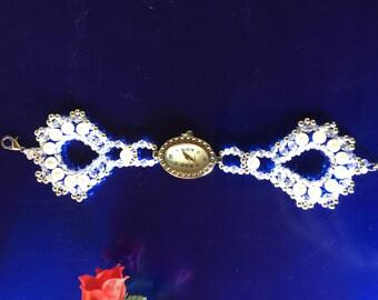 Wristwatch from pearls plus jewelry