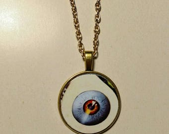 Vintage-Style Horror Pendant, Eyeball Necklace, Creepy Jewelry, Gory Necklace