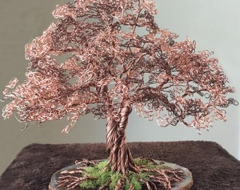 Wire Tree of Life Sculpture for Art & Collectibles Home Decor Made to Order Copper Metal Trees Handmade Sculptures Birthday Gift Anniversary