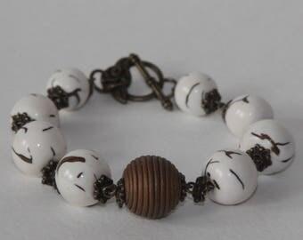 Bracelet & earrings set, polymer clay, handmade