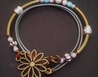 Pink and Blue with Sterling Silver Brassand Leather Wrap Bangle
