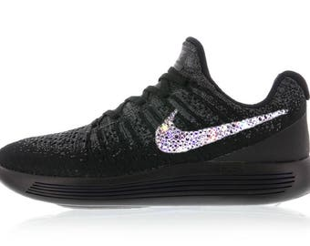 crystal Nike Lunarepic Low Flyknit 2 Bling Shoes with Swarovski Crystals Women's Running Shoes Black