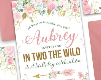 In TWO the Wild Birthday Invitation, Boho Chic Invitation, Tribal Invitation, Floral Invitation
