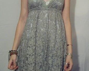 Short gray lace dress