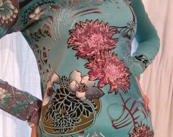 T shirt long sleeve hand sewn beads