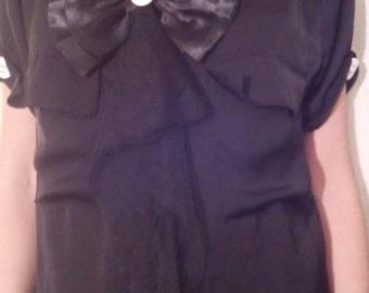 Black satin and silk short sleeve blouse