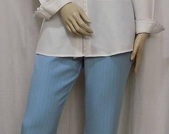 Sky blue cotton pants with white stripes