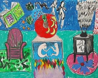 ORIGINAL ART| Couple and Interior | Dreamscape | Contemporary Art
