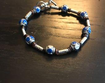 Rustic silver metal bracelet