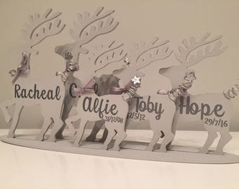 Personalised family of reindeers. Christmas gift decoration idea. Grandchildren, family names.